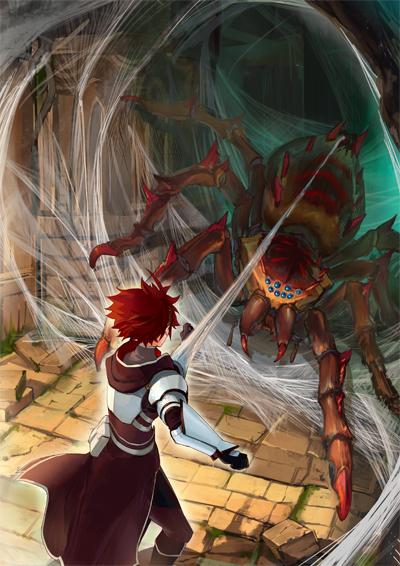 ▲迷宮ではさほど強くない蜘蛛型魔物との戦闘にも一苦労!?