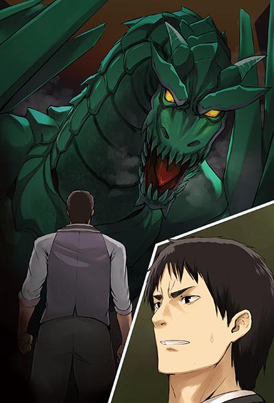 巨大なドラゴンに立ち向かうリック